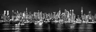 Panorama Wall Art - Photograph - New York City Nyc Skyline Midtown Manhattan At Night Black And White by Jon Holiday