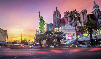 Clouds Rights Managed Images - New York City Skyline In Las Vegas Nevada Royalty-Free Image by Alex Grichenko