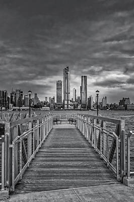 Photograph - New York City Skyline Sundown Bw by Susan Candelario