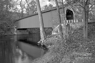 Photograph - New York Eagleville Covered Bridge Black And White by Adam Jewell