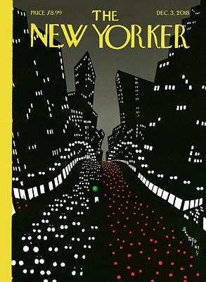 Night Drawing - New York Lights Up by Matias Santoyo