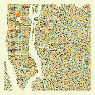 Map Wall Art - Digital Art - New York Map 1 by Jazzberry Blue