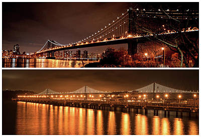 Photograph - New York Meets San Francisco Manhattan Bridge Bay Bridge by Toby McGuire