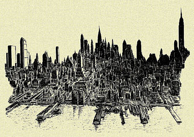 Drawing - New York Mid Manhattan Skyline 78 - Ink Drawing by Peter Potter