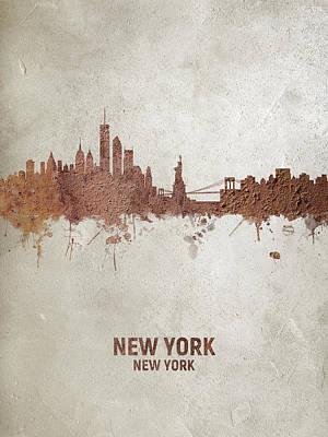 Digital Art - New York Rust Skyline by Michael Tompsett