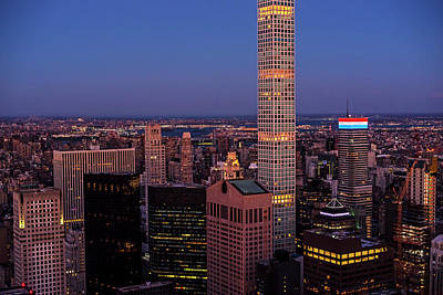 Photograph - New York Skyline Red White And Blue Building New York Ny by Toby McGuire