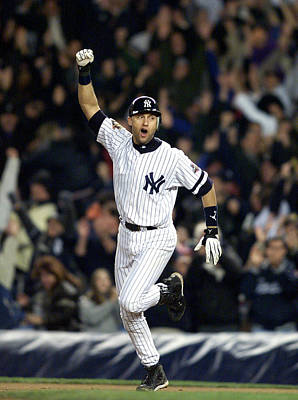 Photograph - New York Yankees Derek Jeter Celebrates by New York Daily News Archive