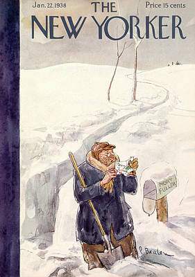 Winter Scene Painting - New Yorker January 22nd, 1938 by Perry Barlow