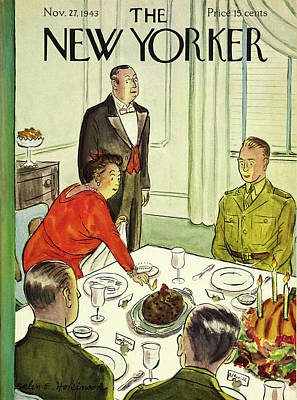 Painting - New Yorker November 27th 1943 by Helene E Hokinson