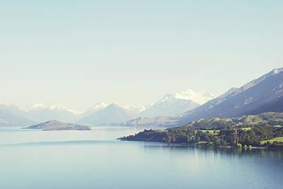 Photograph - New Zealand Blue Snow Peaked Landscape by Helen Yin