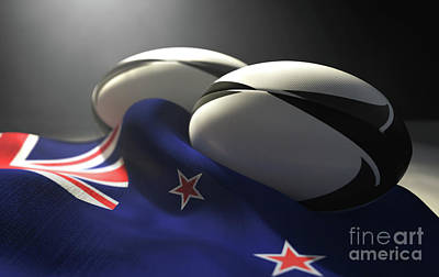 Bear Photography - New Zealand Flag And Rugby Ball Pair by Allan Swart