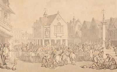 Drawing - Newbury Market Place, Berkshire  by Thomas Rowlandson