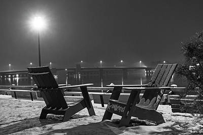 Photograph - Newburyport Ma Adirondack Chairs  Snowstorm At Night Merrimac River Black And White by Toby McGuire