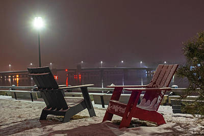 Photograph - Newburyport Ma Adirondack Chairs  Snowstorm At Night Merrimac River by Toby McGuire