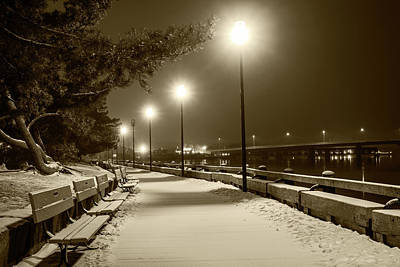 Photograph - Newburyport Ma Snowstorm At Night Merrimac River Lights Sepia by Toby McGuire