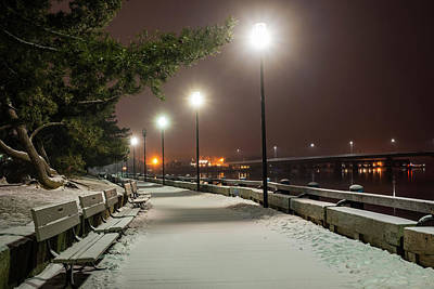 Photograph - Newburyport Ma Snowstorm At Night Merrimac River Lights by Toby McGuire