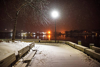Photograph - Newburyport Ma Snowstorm At Night Merrimac River by Toby McGuire