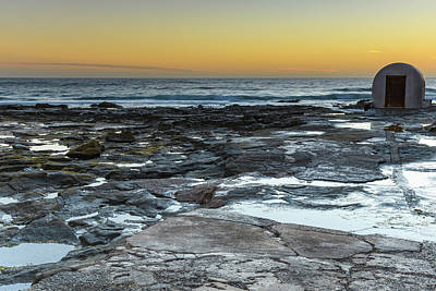 Bath Time Rights Managed Images - Newcastle Baths Pump House and Sunrise Seascape Royalty-Free Image by Merrillie Redden