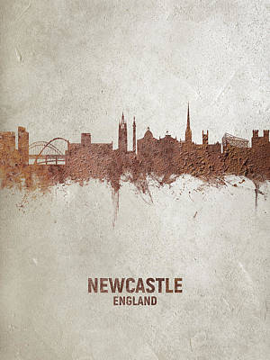 Digital Art - Newcastle England Rust Skyline by Michael Tompsett
