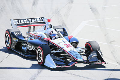 Sports Royalty-Free and Rights-Managed Images - Newgarden Into Turn 1 by Shoal Hollingsworth