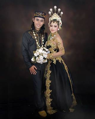 Painting - Newly Wed Indonesian Male And Female In Traditional Clothing by Celestial Images