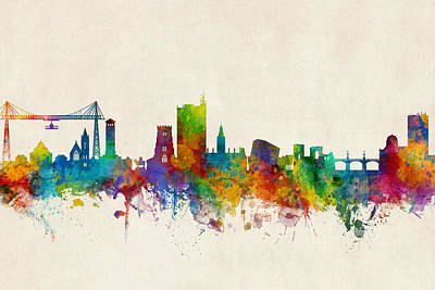 Digital Art - Newport Wales Skyline by Michael Tompsett