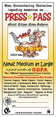 Comics Mixed Media - Newz Medium at Large PRESS PASS by Dawn Sperry