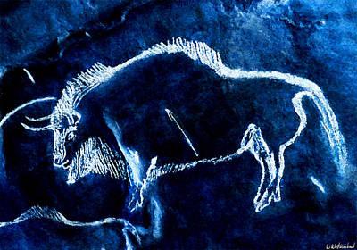 Digital Art - Niaux Bison 1 - Negative by Weston Westmoreland