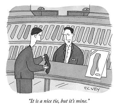 Drawing - Nice Tie by Peter C Vey
