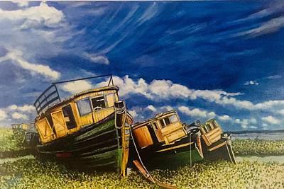 Painting - Nigerian Fishing Boats by David Rhys