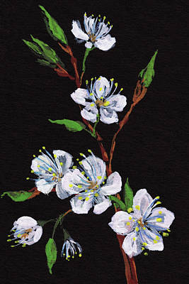 Painting - Night And Cherry Blossoms Floral Impressionism by Irina Sztukowski