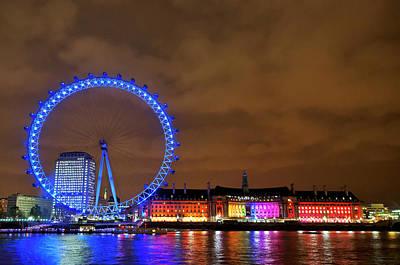 Photograph - Night At London Eye by Simon Anderson