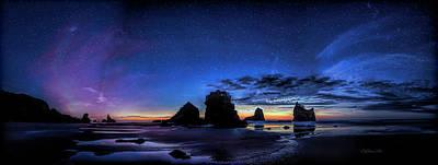 Photograph - Night At Motukiekie Beach Pano In Greymouth West Coast New Zealand By Olena Art by OLena Art
