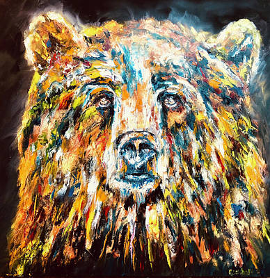 Painting - Night Bear by Jennifer Morrison Godshalk
