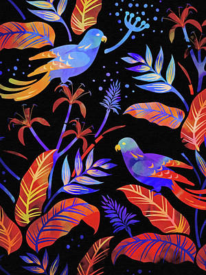 Painting - Night Birds by Lutz Baar