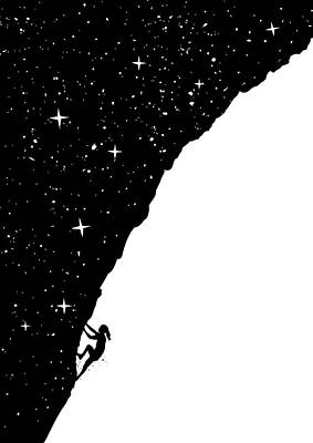 Funny Mixed Media - Night Climbing by Balazs Solti