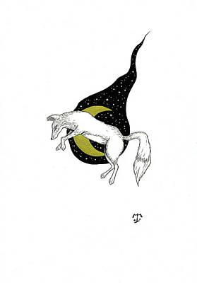 Drawing - Night Fox by Tristan R Rosenkreutz