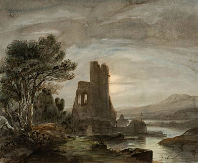 Drawing - Night Landscape With Ruined Monastery by Lluis Rigalt