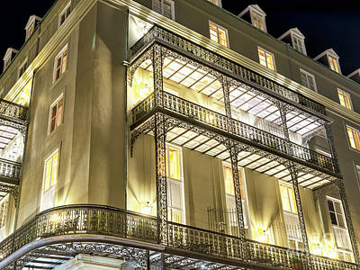 Photograph - Night Lights On The Balcony New Orleans by John Rizzuto