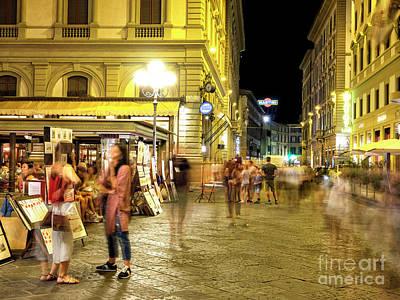 Photograph - Night Moves At Piazza Della Repubblica In Florence by John Rizzuto