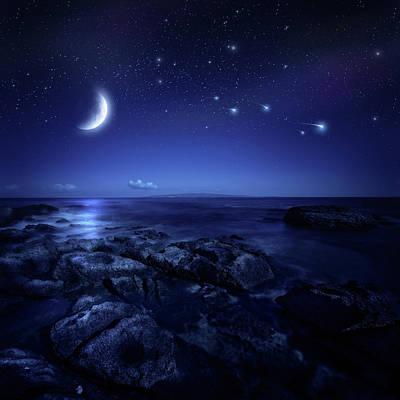 Photograph - Night Shot Of Sea by Da-kuk