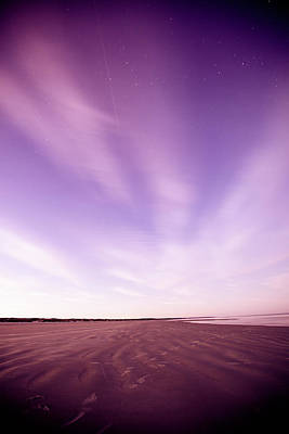 Purple Sea Stars Wall Art - Photograph - Night Sky And Beach by Epicurean