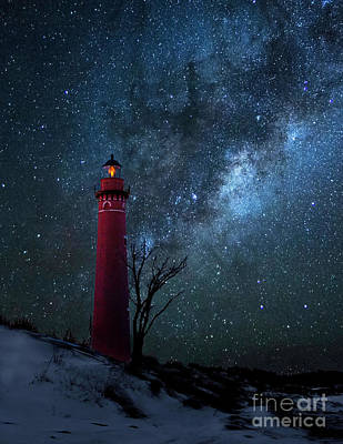 Photograph - Night Sky At Little Sable Light by Nick Zelinsky