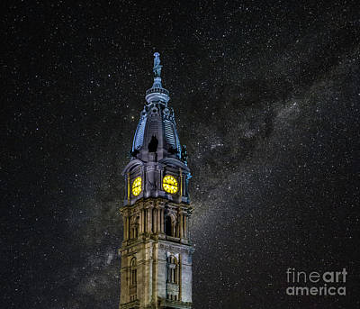 Photograph - Night Sky Over City Hall by Nick Zelinsky