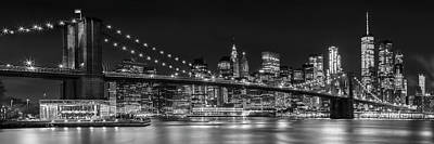 Downtown Wall Art - Photograph - Night-skyline New York City Bw by Melanie Viola