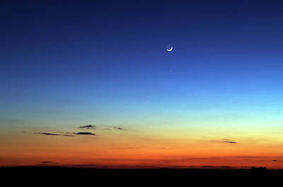 Yellow Photograph - Night Skyline With Moon In The Distance by Lisavalder