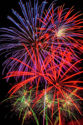 Photograph - Night Time Fireworks by Garry Gay