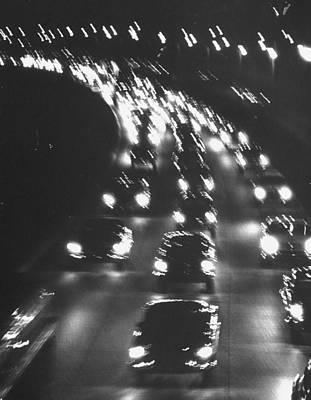 Photograph - Night Traffic On The Major Deegan Expres by Yale Joel