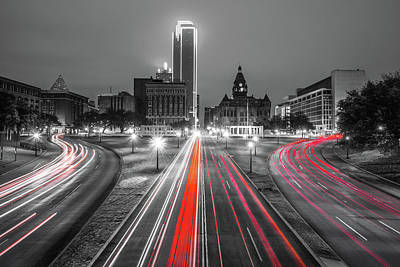Photograph - Night Trails - Dallas Texas Skyline by Gregory Ballos