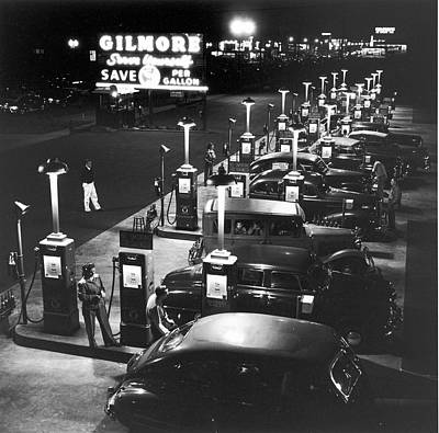 Photograph - Night View Of Gilmore Serve Yourself by Allan Grant